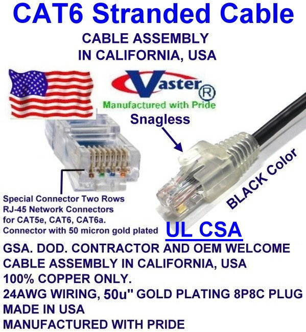 14 Ft // 20 Pcs//Pack Cat5e 350Mhz Patch Cable Vaster SKU Not CCA Wire 100/% Copper UL//ETL 24Awg Wire RJ45 Snagless Straight Patch Cable 20674 Orange